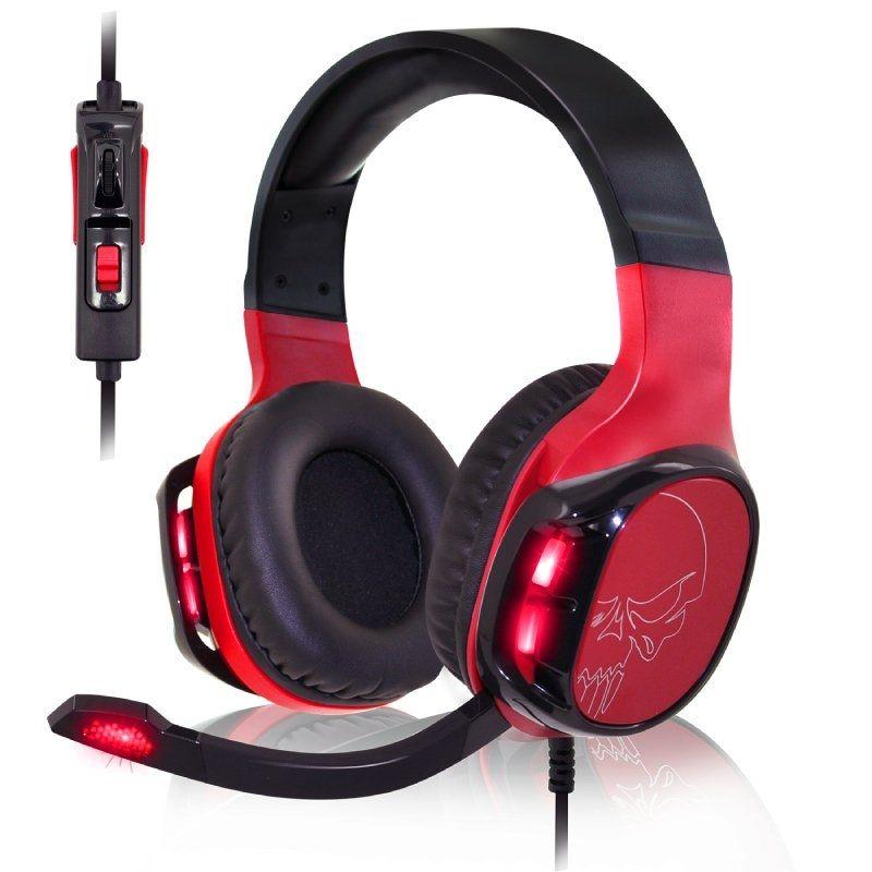 Auriculares Con Micrófono Spirit Of Gamer Elite-H60 Red - Drivers 50MM - Micrófono Flexible - Retroiluminación Led Rojo - Conector USB / Jack 3.5