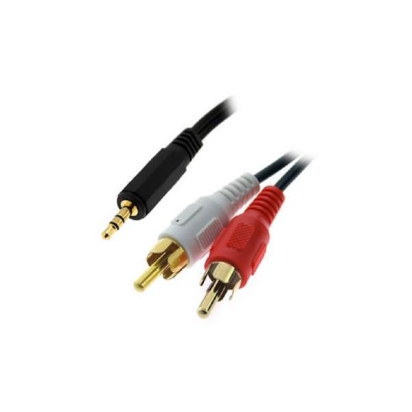 Cable Audio • Jack 3,5 Macho - 2xRCA Macho • 2 Metros