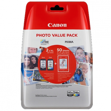 Multipack 2 Cartuchos Tinta Canon • 1xPG-545XL - 1xCL-546XL • 50 Hojas Foto 10x15 • Para Pixma MG2450, MG2550, MG2950