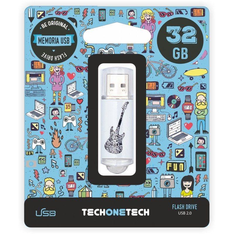 Pendrive Tech One Tech • Crazy Black Guitar • 32GB • USB 2.0 • TEC4006-32