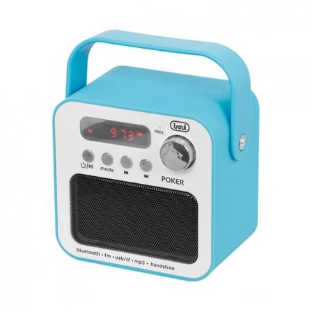 Radio Portátil Trevi DR 750 BT Poker Azul • 3W • FM • MP3 USB/SD • BT Función Manos Libres • Pantalla Led • Batería Recargable
