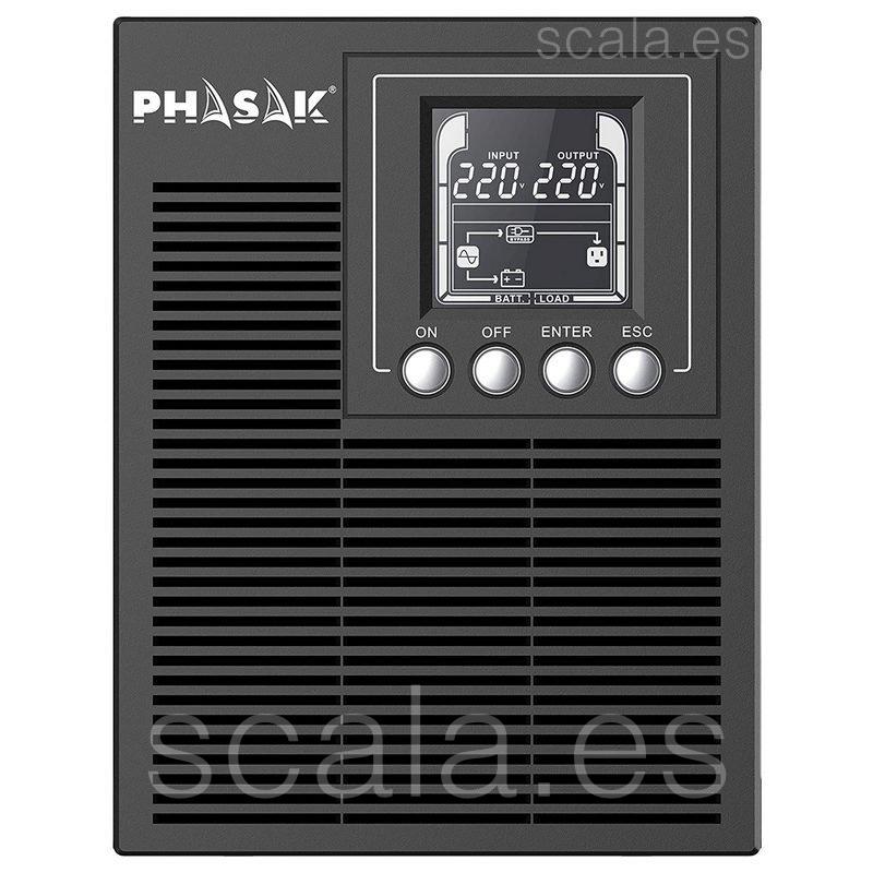 SAI Phasak PH 9210 - 1 KVA / 900W - Online - Formato Torre - 3 Salidas Schuko - LCD - Baterías 2 x 9Ah