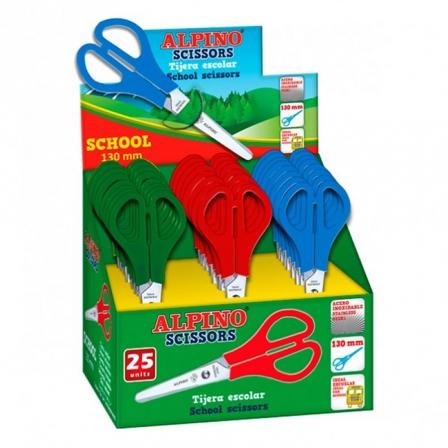 Tijera Escolar Alpino School Colores Surtidos • Ideales Para Colegio • 130MM • Acero Inoxidable